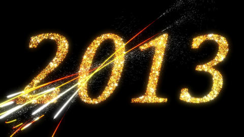 2013: Fireworks and Sparkling symbols of New Year Stock Video Footage