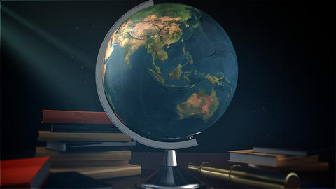 Globe On The Table Stock Video Footage