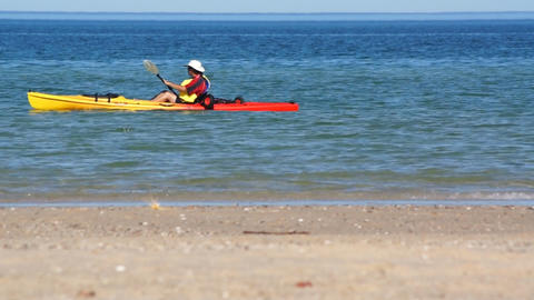 Kayak And Ocean Stock Video Footage