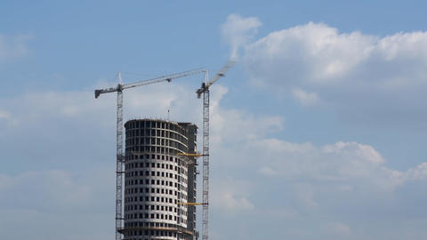 Skyscraper And Cranes stock footage