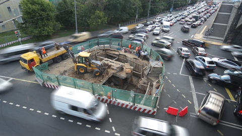 Trafic Jam Caused By Road Work Footage