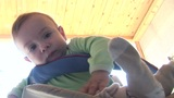 Baby Boy In Stroller stock footage