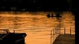 Beautiful Dusk On River Sava With Boat stock footage