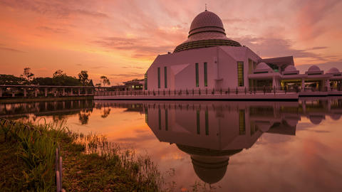 Majestic Sunrise Time Lapse At A Mosque By A Lake stock footage