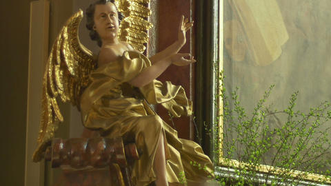 Gilded Baroque Angel Sculpture Footage