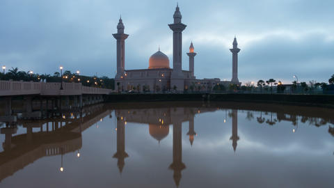 Sunrise Time Lapse at a Mosque in Malaysia Footage