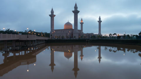 Sunrise Time Lapse At A Mosque In Malaysia stock footage