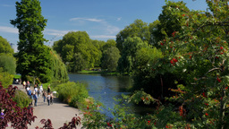 Static shot of people enjoying the sunshine in St James Park London. Taken on a  Footage