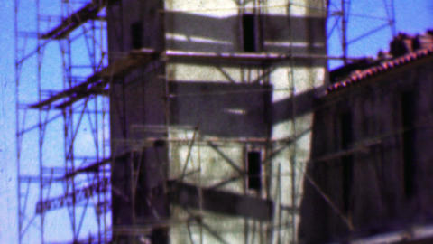 1957: Holy Trinity Lutheran Church construction spanish mission style Footage