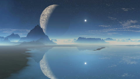 Alien planet and the moon in the reflection Animation