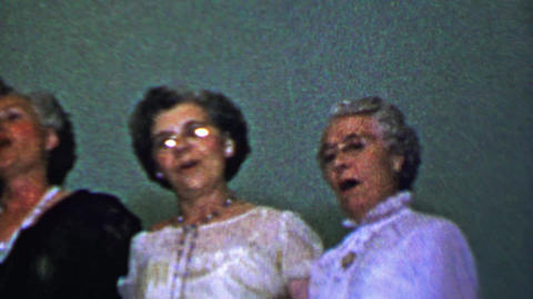 1957: Lovely senior women's group singing classic religious hymns Footage