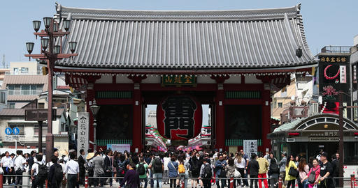 The Kaminarimon gate to Senso-ji temple, Tokyo, Japan 영상물