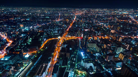 Time-lapse of Osaka at night Footage