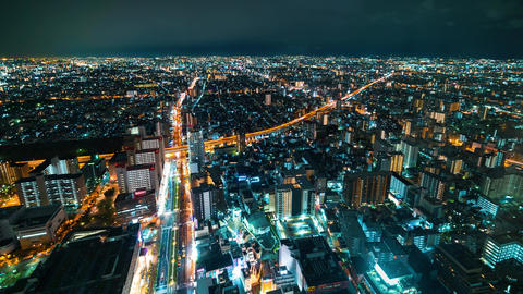 Time-lapse of Osaka from high above Footage