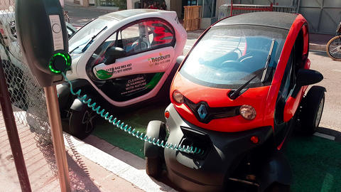 Renault Twizy Electric Car Charging On Street in Monaco Stock Video Footage
