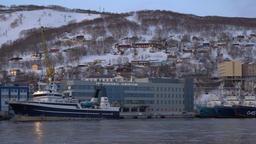 Night view of marine station in Petropavlovsk-Kamchatsky Sea Port Footage