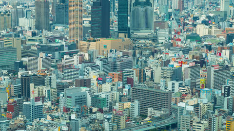 Time-lapse of Osaka from above Footage