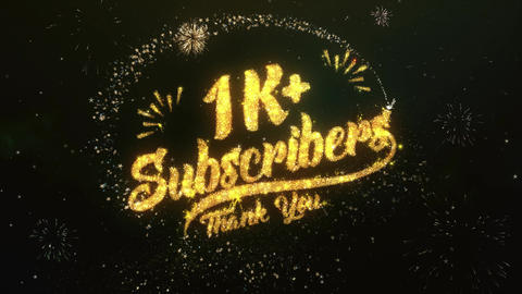1K Subscribers Greeting and Wishes Made from Sparklers Particles Firework sky Animation
