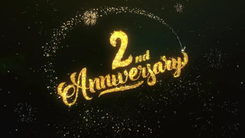 2nd Anniversary Greeting and Wishes Glitter and Sparklers Particles Firework sky Animation