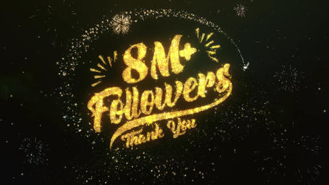 8M+ Followers Greeting and Wishes Made from Sparklers Particles Firework sky Animation