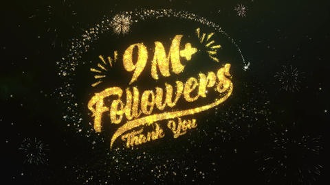 9M+ Followers Greeting and Wishes Made from Sparklers Particles Firework sky Animation