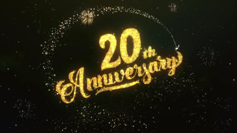 20th Anniversary Greeting and Wishes Glitter and Sparklers Particles Firework Animation