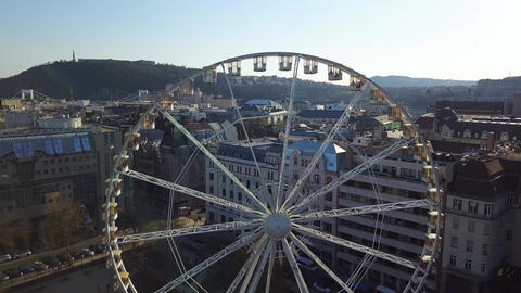 Budapest, Hungary - Aerial view of ferris wheel at Deak Square Footage