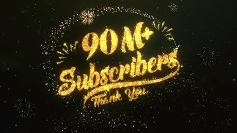 90M+ Subscribers Greeting and Wishes Made from Sparklers Particles Firework sky Animation