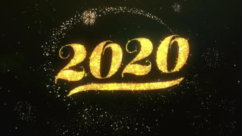 2020 Greeting and Wishes Made from Sparklers Particles Firework sky night Animation
