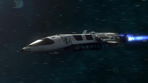 Futuristic Spaceship Flying in Space 画像