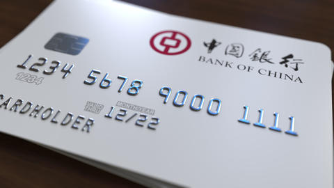 Plastic card with logo of Bank of China. Editorial conceptual 3D animation Footage