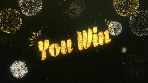 You Win Greeting and Wishes Made from Sparklers Particles... Stock Video Footage