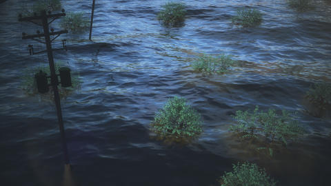 Animation depicting the flooding after hurricane Harvey Footage