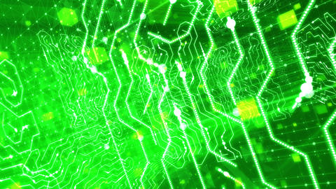Surging Inside Green Circuit Board. Loopable Animation