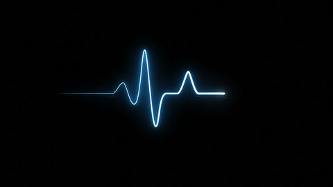 EKG 60 BPM Loop Screen, Blue Animation