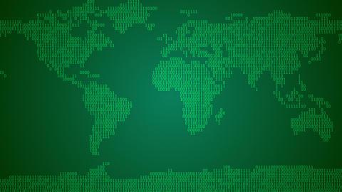 Binary World Map - Dark Green Animation