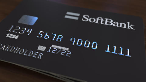 Plastic card with logo of SoftBank. Editorial conceptual 3D animation Footage
