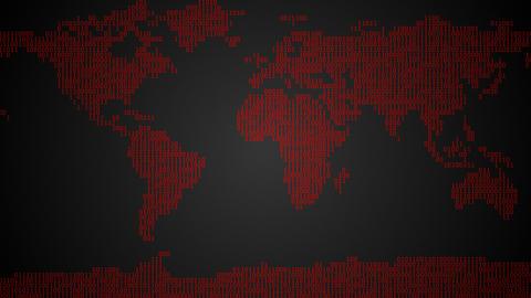 Binary World Map - Dark Red Animation