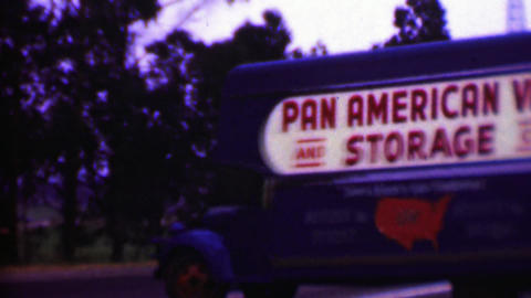 1957: Pan American Van Storage Classic Professional Moving Truck stock footage