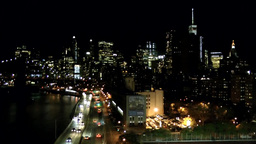 New York City 574 Manhattan East shore at Night from Manhattan Bridge Footage