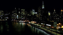 New York City 575 Manhattan riverside road at night from Manhattan Bridge Footage