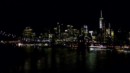 New York City 576 Manhattan Skyline and Brooklyn Bridge at night Footage