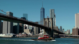 New York City 586 Manhattan Downtown Beekman Tower & One WTC From East River stock footage