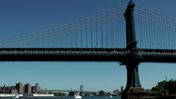 New York City 588 East River Williamsburg Bridge behind Manhattan Bridge Footage