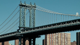 New York City 590 pylon of Manhattan Bridge with buildings behind Footage