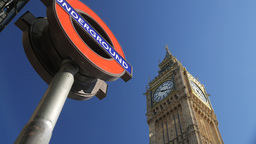 Static shot of the London Underground logo with Big Ben behind Footage