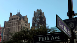 New York City 555 buildings at crossing 5th Ave East 41st Street Footage