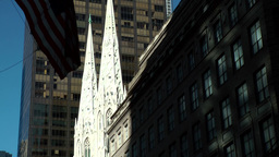 New York City 559 zoom to towers of St. Patrick's Cathedral Footage