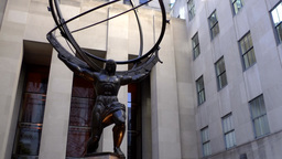 New York City 565 Rockefeller Center Atlas Statue in 5th Avenue Footage
