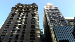 New York City 567 two skyscrapers in 5th Avenue against blue sky Footage